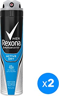 Rexona Men Antiperspirant Deodorant Active Dry, 2 X 150 ml