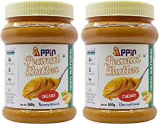 Appin All Natural Smooth Creamy Unsweetened Peanut Butter Combo (Pack of 2)