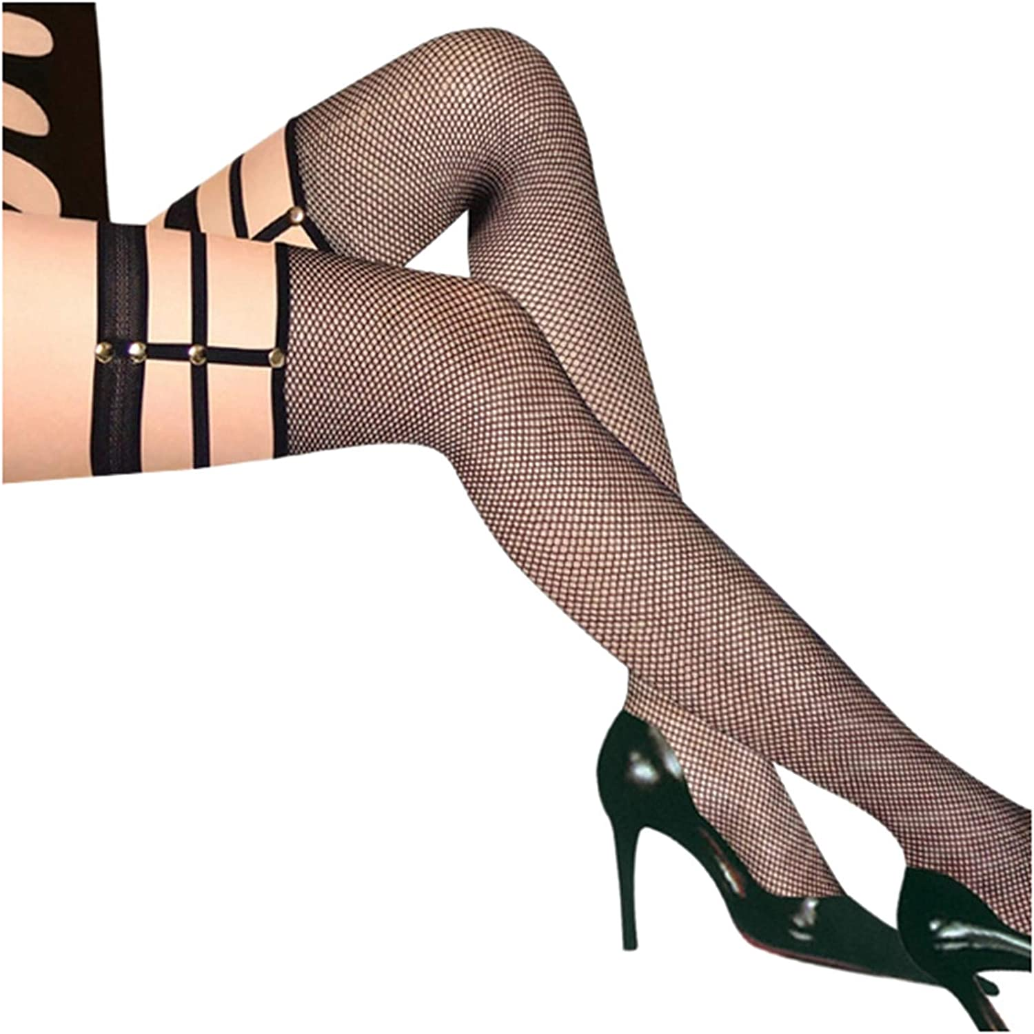 aliveGOT Lace Fishnet Stockings Sexy Tights High Pantyhose, Glitter Diamond Hollow Out Mesh Stockings for Women