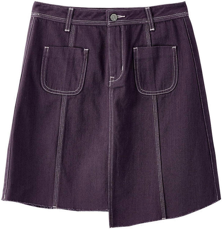 2019 Arrival High Waist Slim Korean Fashion Casual Student Style All Matched Aline Women Short Denim Skirt,Dark Purple,M