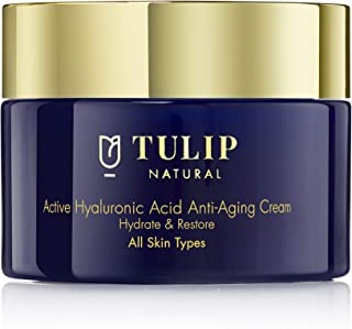 Hyaluronic Anti-Aging Cream to Hydrate & Restore – Hyaluronic Acid Face Lotion with Vitamins A, C, E Prevents Wrinkles & Plumps Skin – Fast Acting Anti-Aging Moisturizer by Tulip Natural, 1.7oz