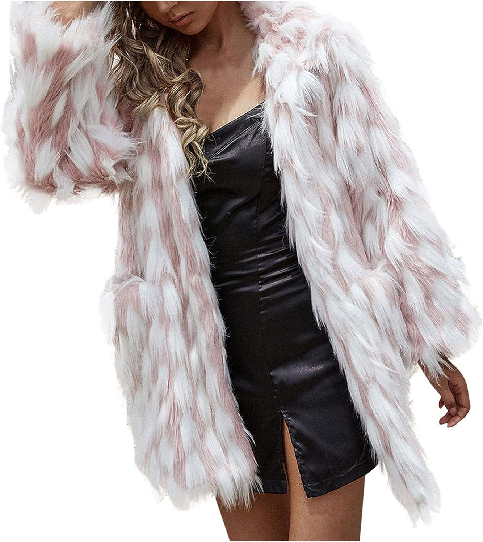 ERTG Womens Coat Long Sleeve Open Front Parka Shaggy Faux Fur Coat Jacket Parka