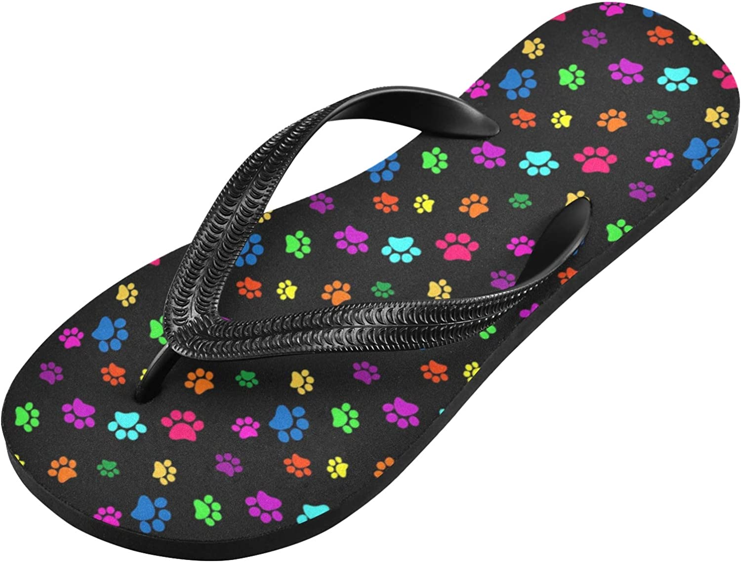 Qilmy Colorful Dog Paw Print Flip Flop Casual Lightweight Non-slip Summer Sandals Women's Men Slippers,S
