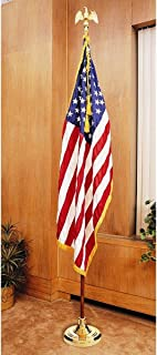 US Flag Factory 8 FT American Flag Indoor Set with Wood Pole - Complete Presentation Set