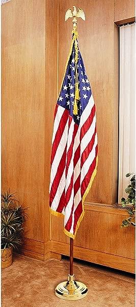 US Flag Factory 7 FT American Flag Indoor Set With Wood Pole Complete Presentation Set