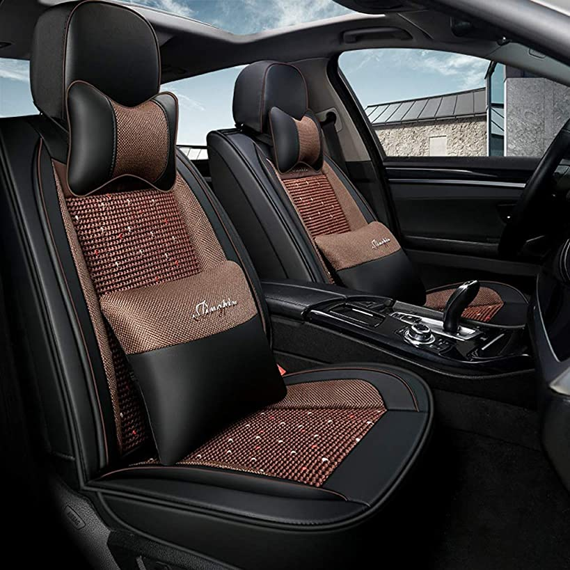 GLJJQMY Car Seat Cover Four Seasons Pad Compatible with Airbag Seat Cover 5 Seats Full Set of Universal Ice Silk Leather car Seasons seat Cover (Color : Black Brown)