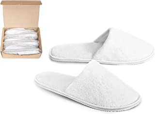 DŠ Stuff Spa Slippers - 6 Pairs, 3 Medium and 3 Large, Non-Slip Sole, Cotton Velvet Closed Toe, Disposable Slippers for Guest- Perfect for Home, Hotel, Spa, Commercial and Travel Used - White Color