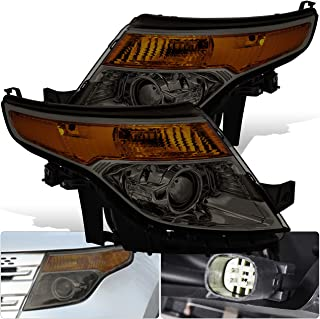 For Ford Explorer Front Bumper Projector Headlight Head Lamp Chrome Housing Smoke Smoked Lens Amber Reflector Upgrade Assembly Pair Left Right