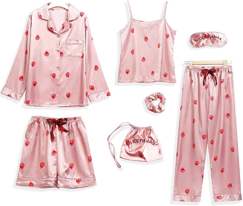 Glittering time Women's 7 Pieces Pajamas Sets Faux Silk Pajamas Sleepwear Sets Autumn Winter Sexy Soft Sweet Cute Nightwear