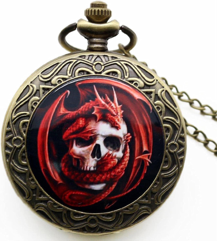 JTWMY Reloj con Colgante de Calavera Punk, Accesorio de Calavera de Motorista, Reloj de Bolsillo, Relojes de Cuarzo gótico, Regalo, dragón Rojo