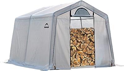 ShelterLogic 90396 Outdoor Covered Seasoning Firewood Storage Shed, 10 Feet X 10 Feet X 8 Feet
