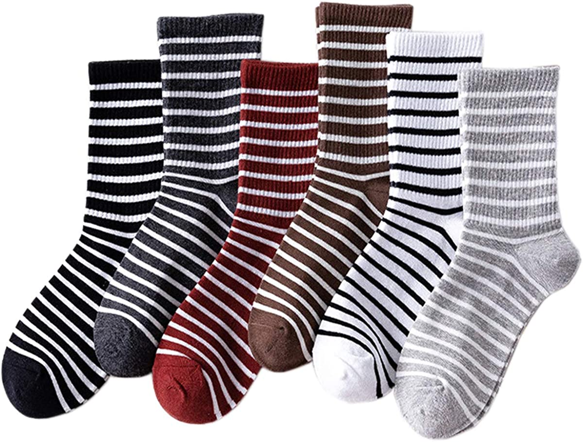 GZDMFS 6 Pairs Womens Lightweight Soft Breathable Wicking Cool Comfort Business Casual Striped Crew Socks