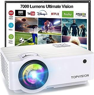 TOPVISION Mini Beamer, Native 1080P Home Cinema Beamer Ondersteunt 1080P Full HD, 7000 Lumen Video Beamer met 300'' Displa...