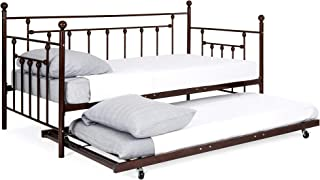 Best Choice Products Multifunctional Twin Sized Metal Guest Room Lounge Daybed Frame w/Trundle, Rounded Finials -Bronze