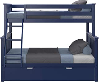 Max & Lily Solid Wood Twin Over Full Bunk Trundle Bed, Blue