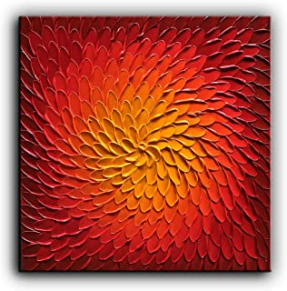 baccow 3030inch Red Metallic 3D Wall Art Painting on Canvas Handmade Abstract Wall Art Painting Picture Decoration for Living Room Bedroom Bathroom Modern Home Decor
