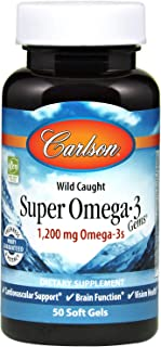 Carlson - Super Omega-3 Gems, 1200 mg Omega-3s, Wild Caught, Sustainably Sourced, 50 soft gels