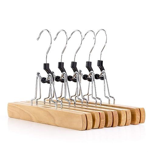 c2dbab4a159 Hangerworld Lot de 5 cintres-pinces en bois pour pantalons jupes - 25cm
