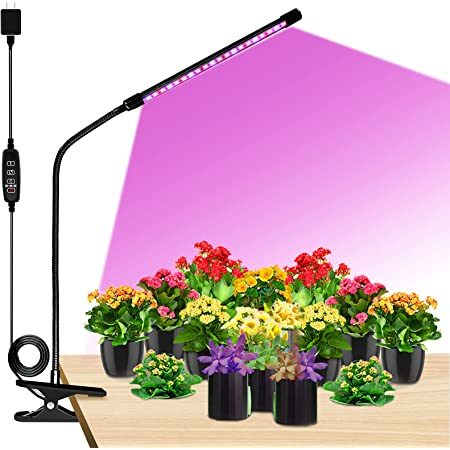 Grow Lights LED Plant Full Spectrum Single-Head 20W Clip-on Plant Grow Lights for Indoor Plant with Dimmable 3 Light Modes Timing Function Plant Grow Bulb Lamp Growing Light