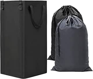 WOWLIVE Large Laundry Hamper Collapsible with 2 Removable Laundry Bags Tall Laundry Basket Foldable Dirty Clothes Hamper with 2 Handles Rectangular Washing Bin Dorm Room Storage for College(Black)
