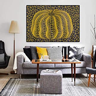 Fenfei Modern Abstract Wall Art Famous Yayoi Kusama Yellow Pumpkin Canvas Painting Wall Pictures for Living Room Cuadros Home Decor 40cm x60cm No Frame