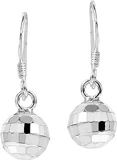 Retro Disco Ball .925 Sterling Silver Dangle Earrings
