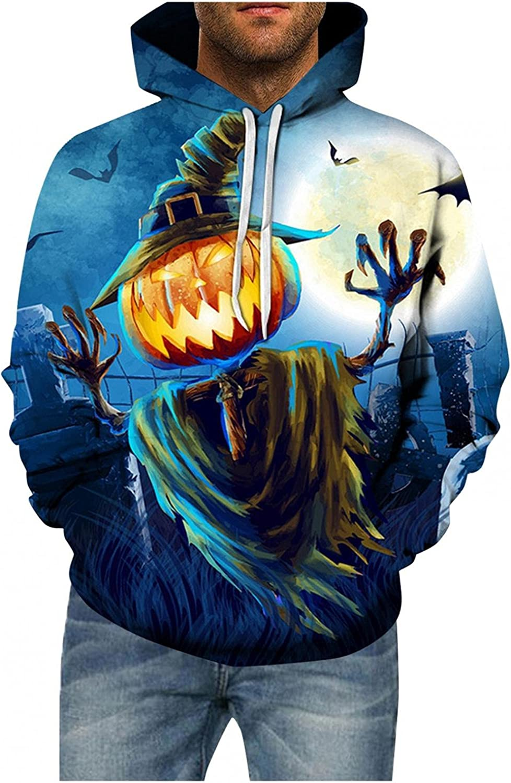 Hoodies for Men Halloween Fashion Evil Pumpkin Pullover Fleece Hoodies Winter Novel Long Sleeve Tops Shirts
