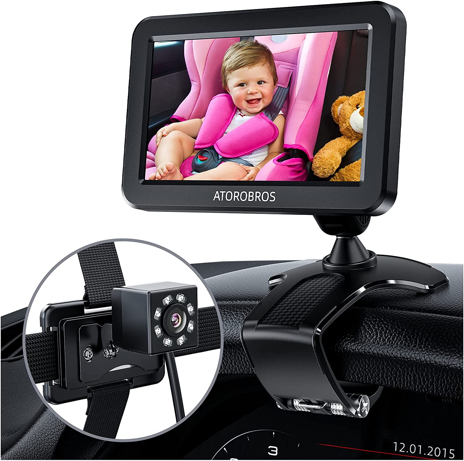 Baby Car Mirror,ATOROBROS Baby Car Camera for Backseat with HD Night Vision Function,360 Degree Rotation Dashboard Clip Mount Display Stand,Wide Crystal Clear View,Convenient to See Baby while Driving