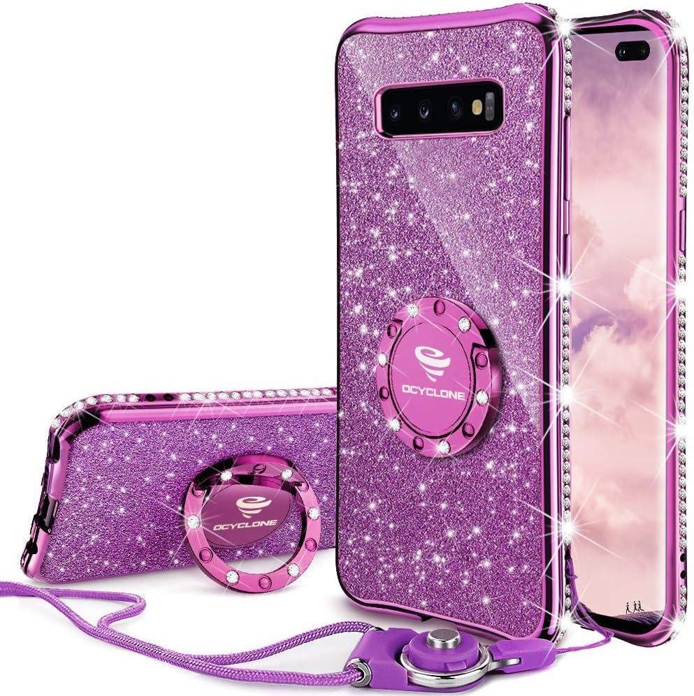 OCYCLONE Cute Galaxy S10 Plus Case, Glitter Luxury Bling Diamond Rhinestone Bumper with Ring Grip Kickstand Protective Thin Girly Samsung Galaxy S10+ Plus Case for Women Girl - Purple