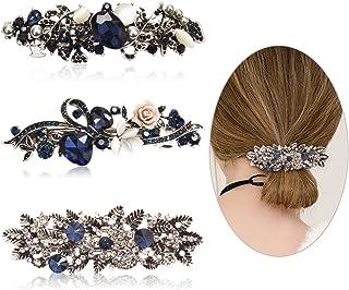 Cubaco 3 Pack Crystal Rhinestones Barrettes French Hair Clip French Clip Flower Design Hair Clips Barrette Bridal Wedding ...