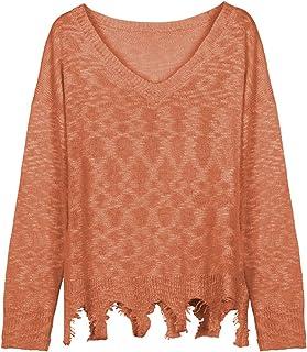 Suéteres Casuales para Mujer, suéter Suelto de Manga Larga ULT-Soft, Sudadera de Punto Liso con Cuello melocotón y Dobladi...