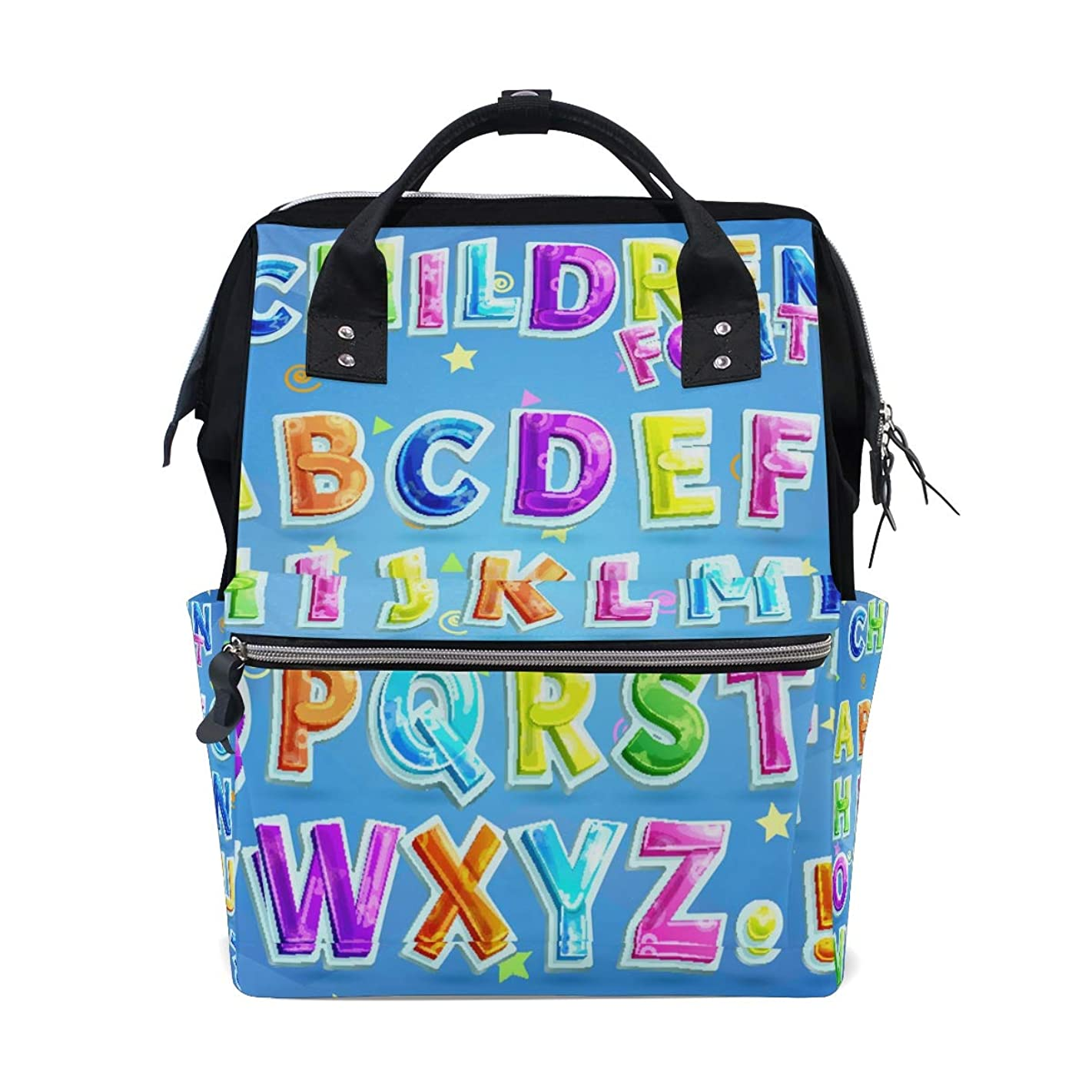 Blue English Capital Letters Alphabet School Backpack Large Capacity Mummy Bags Laptop Handbag Casual Travel Rucksack Satchel For Women Men Adult Teen Children