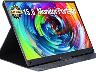 UCMDA Monitor Portatil - 15.6 Pulgadas IPS Pantalla Portátil Full HD 1920x1080, Pantalla IPS con HDMI Tipo-C USB C, Built-...