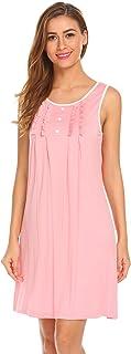 Hotouch Sleepwear Womens Cotton Nightgowns Night Shirts Sleeveless Sleep Dress S-XXL