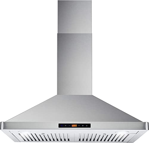 Cosmo 63175S 30 in. Wall Mount Range Hood with Ductless Convertible Duct, Ceiling Chimney-Style Stove Vent, LEDs Ligh...