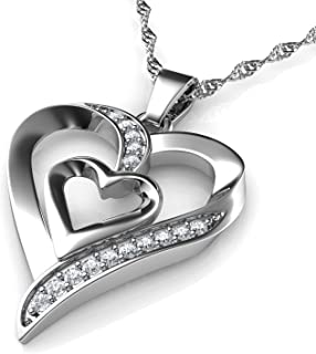 Heart Necklace - 925 Sterling Silver - Double Love Heart Pendant with CZ Crystals - Fine Jewellery Woman Necklace - 18