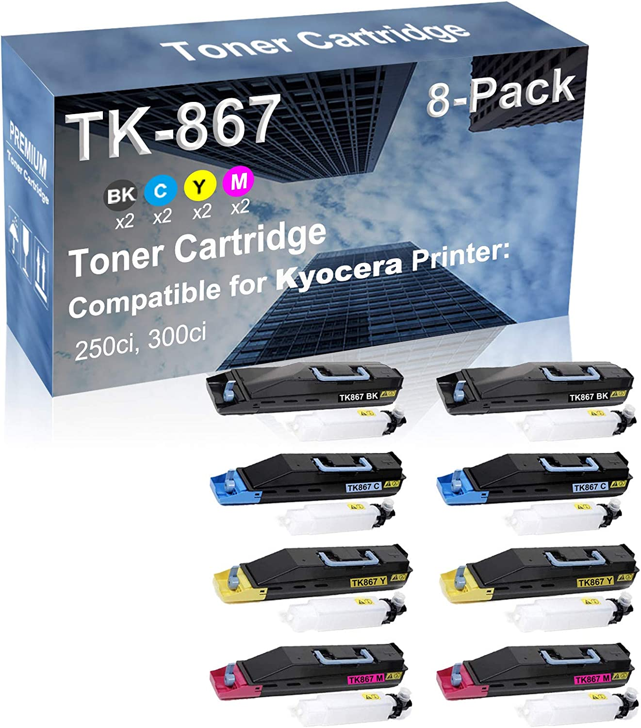 8-Pack (2BK+2C+2Y+2M) Compatible 250ci, 300ci Printer Toner Cartridge High Capacity Replacement for Kyocera TK867 (TK-867BK+ TK-867C+ TTK-867Y+ TK-867M) Toner Cartridge
