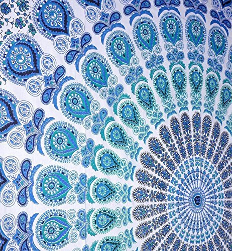 Indian hippie Bohemian Psychedelic Peacock Mandala Wall hanging Bedding Tapestry (Peacock Sky Blue, Queen(84x90Inches)(215x230Cms))