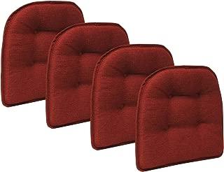 Klear Vu Omega Gripper Tufted Furniture Safe Non-Slip Dining Chair Cushion, 4 Pack, Flame
