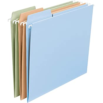 Smead FasTab Hanging File Folder, 1/3-Cut Built-in Tab, Letter Size, Assorted Pastel Colors, 18 per Box (64054)