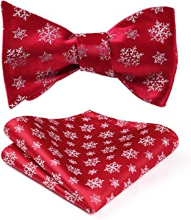 HISDERN Men's Christmas Woven Party Self Bow Tie Pocket Square Set