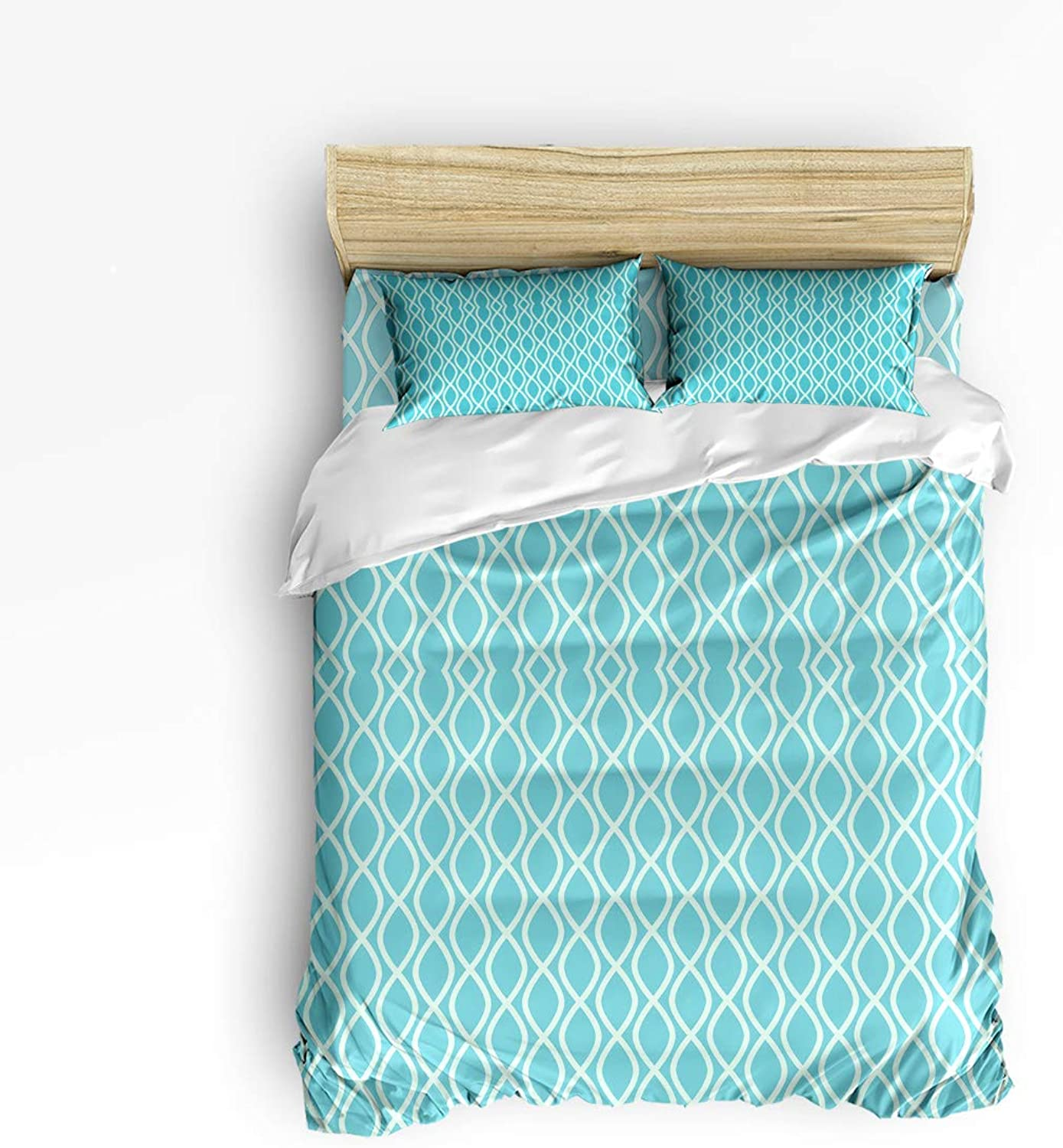 Fandim Fly Bedding Set Twin Size bluee Green Fish Patterns Geometric Pattern,Comforter Cover Sets for All Season