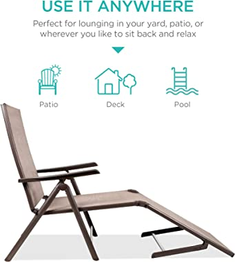 Best Choice Products Set of 2 Outdoor Patio Chaise Lounge Chair Adjustable Reclining Folding Pool Lounger for Poolside, Deck,
