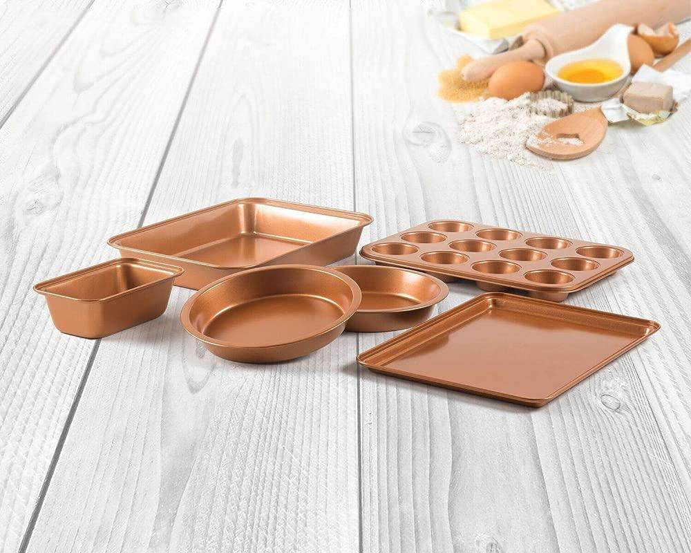 6 Piece Non Stick Copper Ceramic Bakeware Set