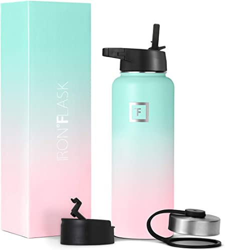 Iron Flask Sports Water Bottle - 14oz, 18oz, 22oz, 32oz, 40oz, or 64oz, 3 Lids (Straw Lid), Vacuum Insulated Stainless Steel, Hot Cold, Modern Double Walled, Simple Thermo Mug, Hydro Metal Canteen product image