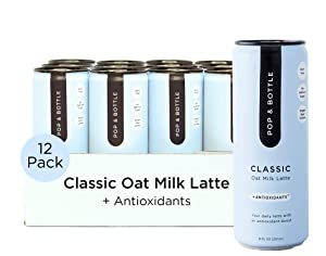 Pop & Bottle - Oat Milk Lattes with Antioxidants | 8 Fl Oz (Pack of 12) Classic | MCT Oil, Cold Brew, Coffee Berry + More | Organic, No Dairy, No Gluten, Lightly Sweetened with Dates
