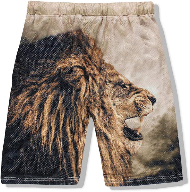DAHDXD Men's Casual Beach Shorts Fashion Brand Funny Print Lion Men Short Pants 3D Male Shorts