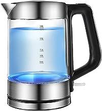 Glazen kookketel |Elektrische waterkoker |Geborsteld roestvrij staal |1.8L draadloze theeketel |Bescherming tegen droo...