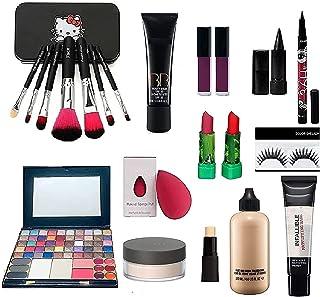 Combo Makeup Kit For Girls (set of 15) 50 color Eyeshadow makeup kit, 7 set of makeup brush, 4 lipstick, linear, Eyelashe...