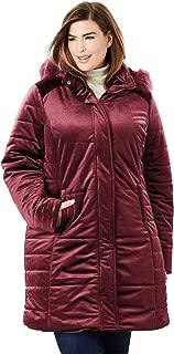 Jessica London Women's Plus Size Velvet Puffer Coat
